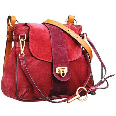 Special Chloe Lexa 3S1261-HFV-BDV Red Suede Leather Crossbody Bag Bi-color Double Strap