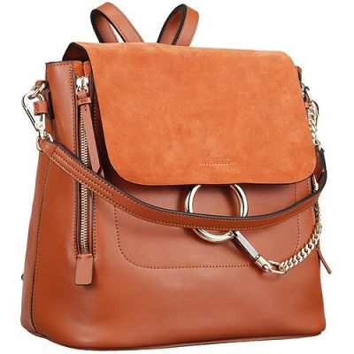 Chloe Faye 3S1232-HEU-151 Gold Chain Tan Backpack Smooth & Suede Leather Girls