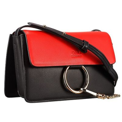 Chloe Faye Small Smooth Leather Crossbody Bag Black & Red For Womens Sale Replica