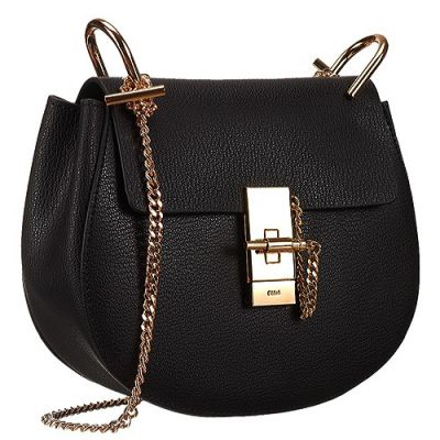 Classic Black Women's Chloe Drew Shoulder Bag Hand-knotted Chain Cold Hardware 3S1031-944-001