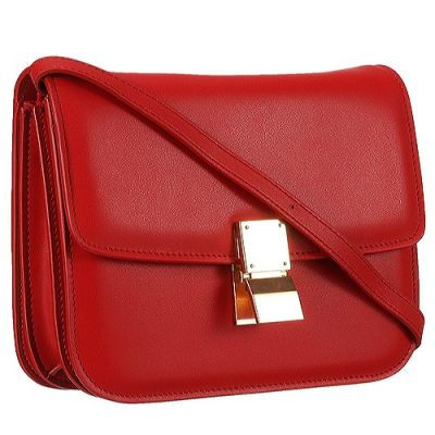 Hot Selling Celine Three Interior Compartment Red Box Bag For Women