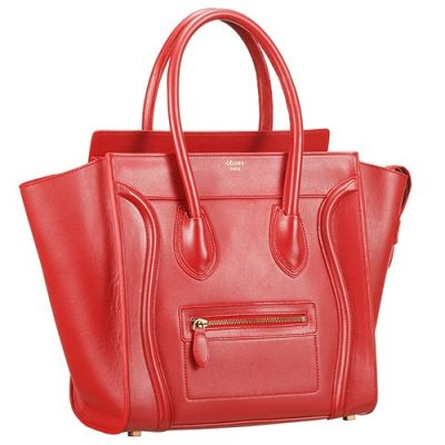 Cheapest Celine 167793AQL.28RU Top Handle Womens Red Leather Luggage Clone Purses