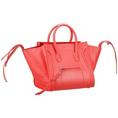 Celine Luggage Phantom Party Style Medium Red Clone Tote Bag For Women