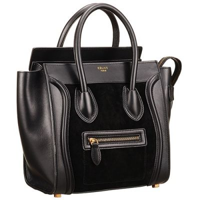 Hot Selling Celine Luggage Ladies Black Leather & Napped Leather Micro Top Handle