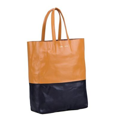Celine Cabas Gusset Ladies Leather Tote Bag Beige & Black Shopping Great Capability