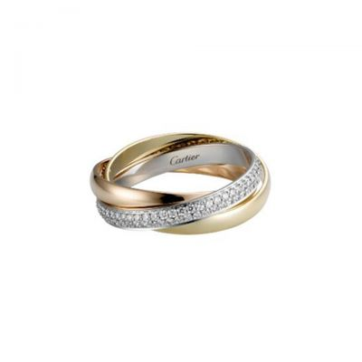 Trinity de Cartier Diamonds 3 Colored Gold Ring B4086000 18K White/ Pink/ Yellow Gold Plated