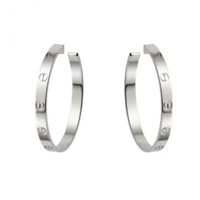 Cartier Love Hoop Earrings Replica B8028300 18K White Gold Plated UK Sale Online Store