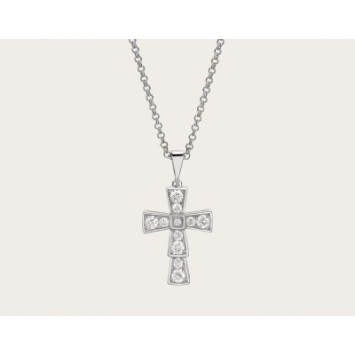 Luxury Replicated Bvlgari Croce 18K White Gold Full Diamonds Small Cross Pendent Necklace 354038 CL858121