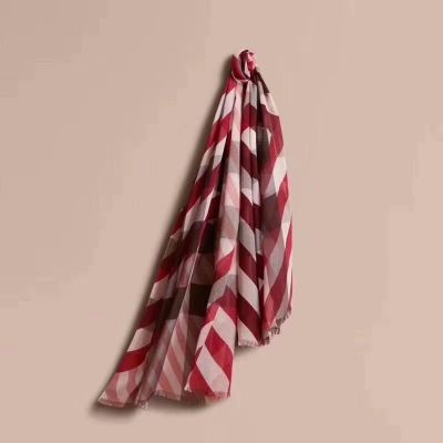 Burberry Red Stripe & Checked Velvet Scarves With Tassels Classic Style For Women Christmas Gift Sale UK