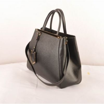 AAA Quality Fendi 2Jours Black Cross Veins Leather Small Black-Golden Trimming Ladies Totes Expandable Gusset