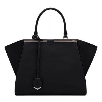 Hot Selling Fendi 3Jours Slim Top Handle Silver Hardware Ladies Black Leather Fake Shopping Bag 8BH2795QWF0GXN