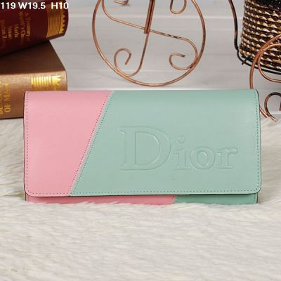 Christian Dior Colorful Light Green & Pink Flap Fake Wallet Yellow Logo Face