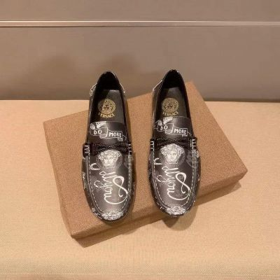 Men's Luxury Versace White Medusa Classic Pattern Braid Trimming Loafers Shoes Fashion Slip-on Moccasins