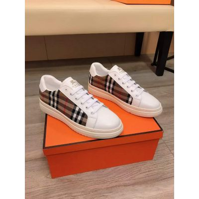 Low Price Burberry White Cow Leather Beige Check Lace-up Panel Sneakers For Men Price In India