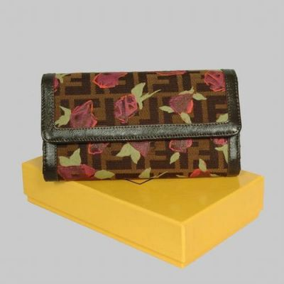Fendi F Fabric With Rose Print Leather Lining Long Womens Folding Wallet Two Transparent Card Slots