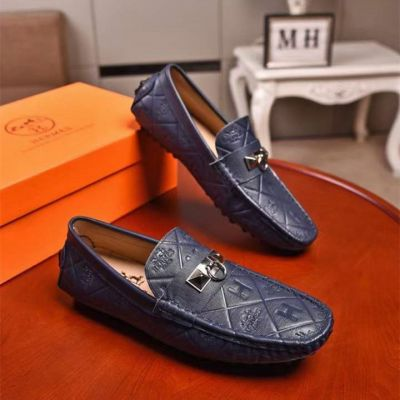 Classic Hermes Silver Circle Studs Motif H Logo Printing Men Calfskin Leather Loafers Price Online