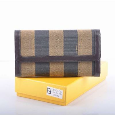 Simple Fendi Coffee Leather With Striped Fabric Long Flap Ladies Fake Wallet Zipped Purse