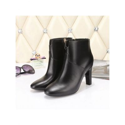 2017 Winter Hermes Ladies High-heeled Calfskin Leather Ankle Boots Zipper Booties Shoes Black/Burgundy