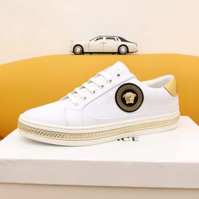 2021 New Style Versa Low-top Golden Embossing Sole Medusa Signature Male White Calfskin Leather Sneakers Replica