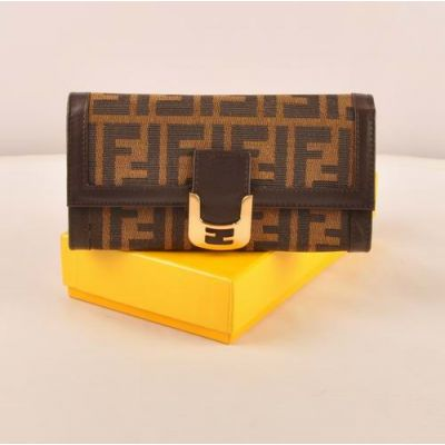 Fendi Yellow Brass Buckle Coffee F Print Fabric Long Flap Wallet For Womens Leather Edge
