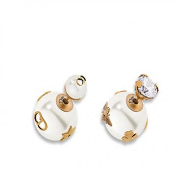 Dior Tribales Asymmetric Pearl Earrings CD Signature Bee Brass Crystal Valentine Gift For Women