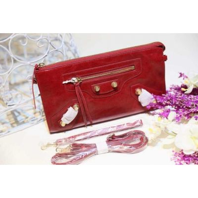 Chic Balenciaga Red Leather Envelope Long Classic Zipper Clutch Bag Brass Studs For Womens