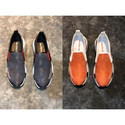 Cheapest Balenciaga Popular Printing Mens Tricolor Textured Sole Slip-on lightweight Leather Sneakers Black/Orange