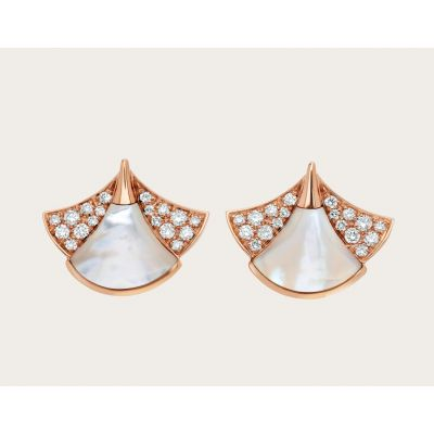 Fashion Bvlgari Divas' Dream White Mother Of Pearl Ladies Rose Gold Fan-shaped Diamonds Earrings Replica 350483 OR857103