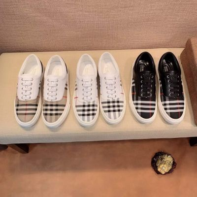 Spring Top Sale Burberry Cowhide Leather Vintage Check White Sole Sneakers Black/White/Beige Mens Shoes USA