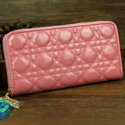 Long Pink Patent Leather Dior Lady Dior Clone Wallet Gold Zipper With D.I.O.R Charm Best Price