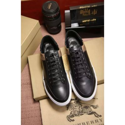 Hot Selling Check & Black Calfskin Leather White Rubber Outsole Mens Lace-up Sneakers For Spring/Fall