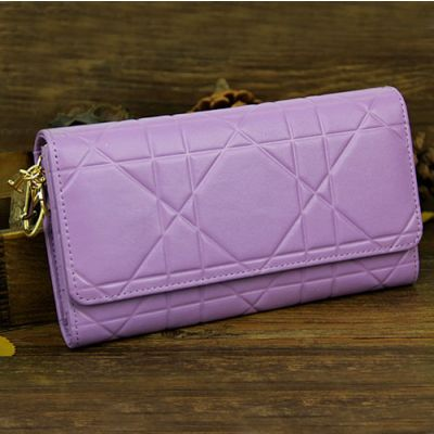 Good Reviews Dior Lavender Patent Leather Long Cannage Lady Dior Wallet Yellow Gold Plated Charm