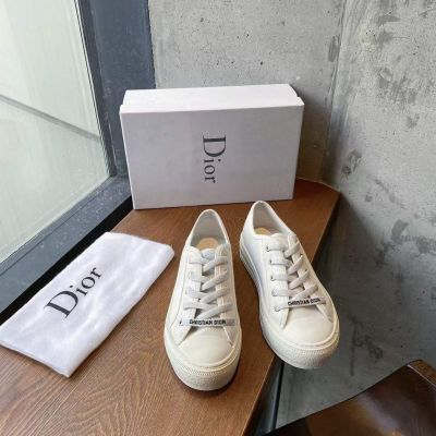 Walk'N'Dior Celebrity Same Low-top White Canvas Female Lace-up Sneakers For Skirts Sale Online