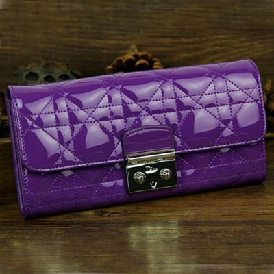 """Replica Long Dior """"Lady Dior"""" Purple Patent Leather Silver Hardware Flap Wallet For Womens"""