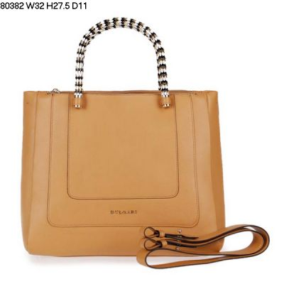 Top Quality Bvlgari Serpenti Women's  Bag Two Internal Small Open Pockets Apricot Tote Calfskin Leather