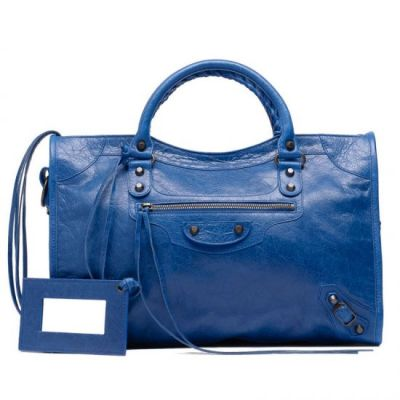 Balenciaga Classic City Leather Tassel Aged Brass Buckle Trimming & Studs Blue Cobalt Tote Bag For Womens
