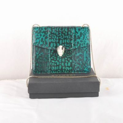 Bvlgari Serpenti Top Quality Women's Silver Gemmy Lock Snakeskin Leather Green And Black Shoulder Bag