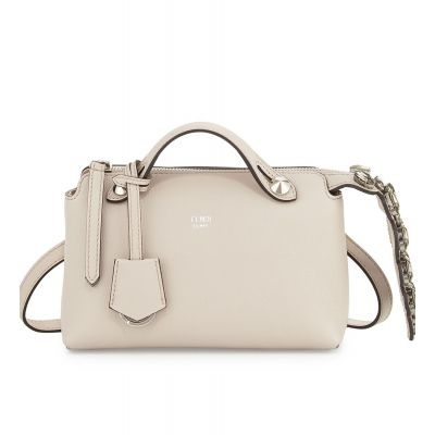 Fendi Ladies Crystal Mini By The Way White Leather Zipper Boston Bag Arrow-Shaped Charm Removable Handle