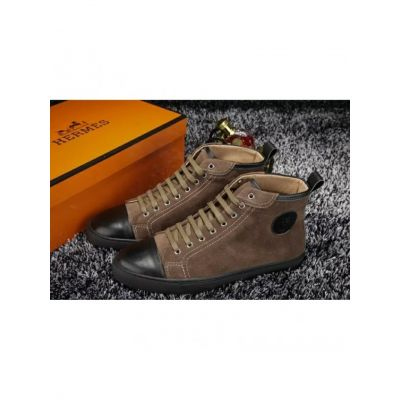 """Hermes Gray Suede Leather """"Ex Libris"""" Detail Lace-up High-top Sneakers For Mens & Womens Spring/Fall"""