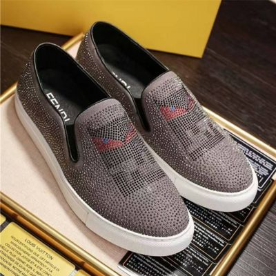 High Quality Fendi Bugs Pattern Mens Gray Suede Leather Casual Loafers Luxury Studs Mocassins