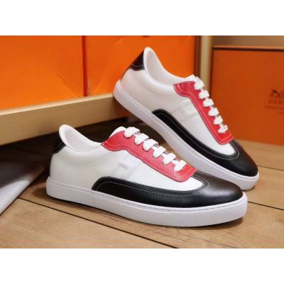 Replica Hermes High End Cow Leather H Logo Pattern Lace-up Red White Black Patchwork Sneakers For Men