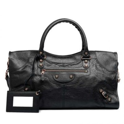 AAA Quality Balenciaga Rose Gold Hardware Giant 12 Part Time Black Leather Studs Ladies Totes