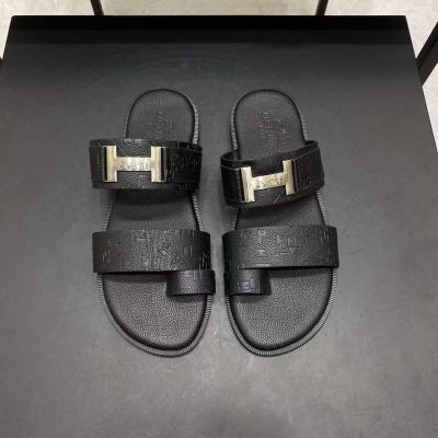 Hermes Fashion Silver H Buckle Open Toe Logo Printing Male Cow Leather Flat Slippers For Sale Online Replica