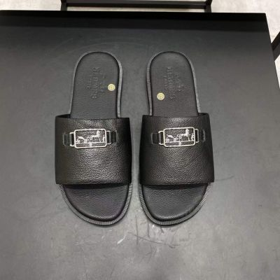 Men's Fashion Hermes Silver Plated Logo Signature High End Calfskin Leather Flat Slipper Price Online