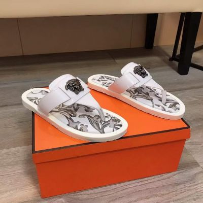 Versace Antique Silver Medusa Head Stud Men Daily Fashion Printing Sole White Cow Leather Flip Flop USA