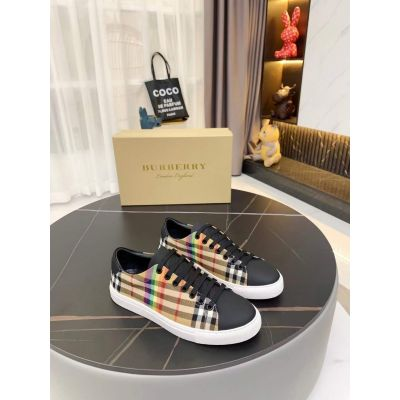 Burberry High Quality Black Leather Classic Check Pattern Silk Satin White Rubber Sole Trainers For Men