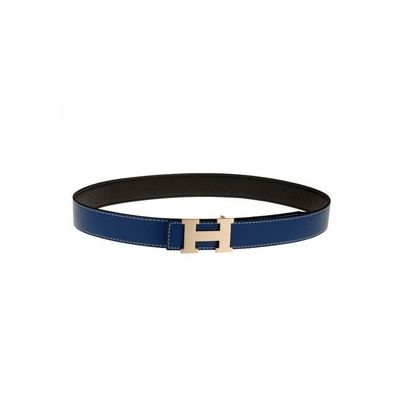 Cheapest Hermes Unisex Blue Reversible Leather Belt With Golden Tone H Pin Buckle Replica
