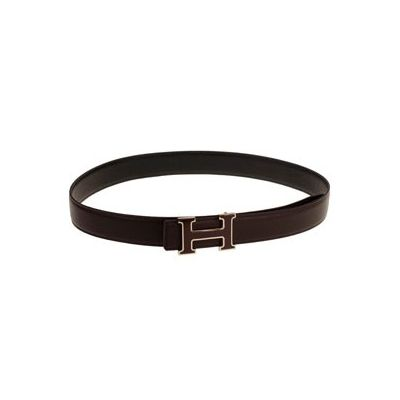Hermes Two-tone H Buckle Dark Brown Reversible Grained Leather Strap Male Copy Belt Online