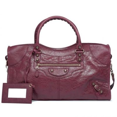 Hot Selling Balenciaga Burgundy Leather Giant 12 Part Time Rose Gold Studs Womens Crossbody Bag