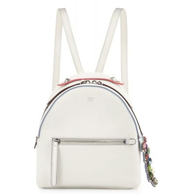 Spring Fendi Mini Colorful Crystal Croc-Tail Double Zipper White Fake Backpack For Girls Online